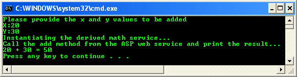 Consuming the ASP .NET/C# web service application using C++/CLI program example: a sample output for the addition operation using web service and the C++/CLI console mode application