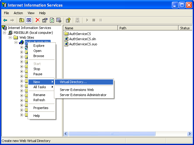 The C# Asynchronous Web Service Access with ASP .NET WEB Service application development Program Example: creating a virtual directory for the IIS web server