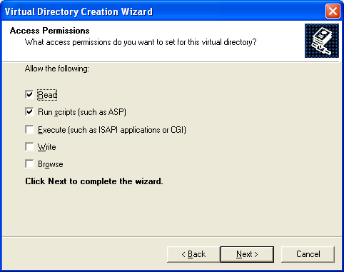 The C# Asynchronous Web Service Access with ASP .NET WEB Service application development Program Example: setting the access permission for the IIS virtual directory