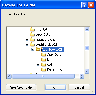 The C# Asynchronous Web Service Access with ASP .NET WEB Service application development Program Example: selecting the physical folder for the IIS home directory