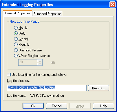 The C# Asynchronous Web Service Access with ASP .NET WEB Service application development Program Example: the IIS extended logging property page settings