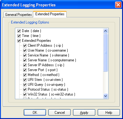 The C# Asynchronous Web Service Access with ASP .NET WEB Service application development Program Example: the IIS logging options with extended properties