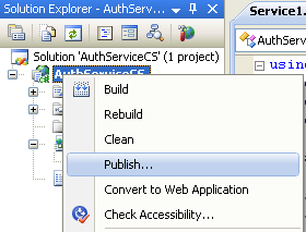 The C# Asynchronous Web Service Access with ASP .NET WEB Service application development Program Example: publishing the web service application from the Visual Studio IDE