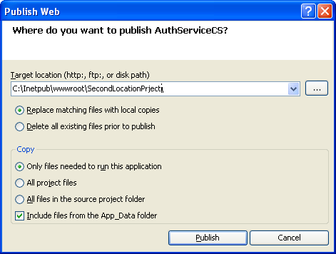 The C# Asynchronous Web Service Access with ASP .NET WEB Service application development Program Example: the Publish Web options for web service application accessed from Visual Studio IDE