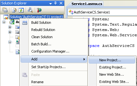 The C# Asynchronous Web Service Access with ASP .NET WEB Service application development Program Example: adding a new C# project into the existing web service project solution