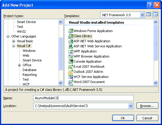 The C# Asynchronous Web Service Access with ASP .NET WEB Service application development Program Example: selecting the C# class library project template