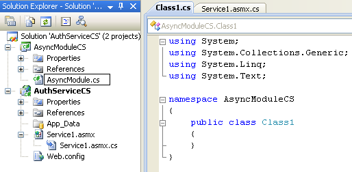 The C# Asynchronous Web Service Access with ASP .NET WEB Service application development Program Example: renaming the default given C# source file