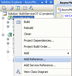 The C# Asynchronous Web Service Access with ASP .NET WEB Service application development Program Example: adding the .NET reference