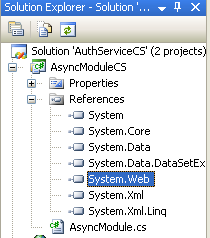 The C# Asynchronous Web Service Access with ASP .NET WEB Service application development Program Example: the System.NEt reference seen in Solution Explorer