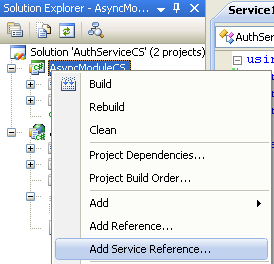 The C# Asynchronous Web Service Access with ASP .NET WEB Service application development Program Example: adding a web service reference or a proxy class to the existing C# project