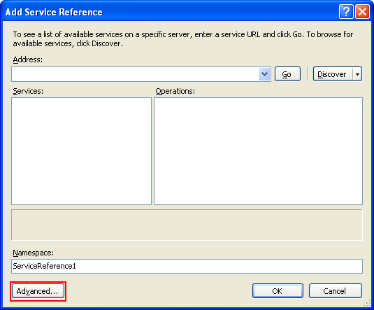 The C# Asynchronous Web Service Access with ASP .NET WEB Service application development Program Example: the Add Service Reference page