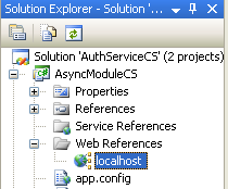 The C# Asynchronous Web Service Access with ASP .NET WEB Service application development Program Example: the web service reference seen in the Solution Explorer of the Visual Studio IDE