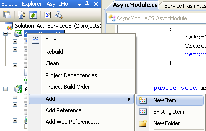 The C# Asynchronous Web Service Access with ASP .NET WEB Service application development Program Example: adding new item into current C# project