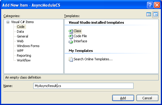 The C# Asynchronous Web Service Access with ASP .NET WEB Service application development Program Example: adding new class into the current C# project