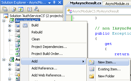 The C# Asynchronous Web Service Access with ASP .NET WEB Service application development Program Example: invoking the adding new item menu in the Visual Studio IDE