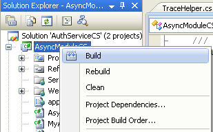 The C# Asynchronous Web Service Access with ASP .NET WEB Service application development Program Example: building C# project individually