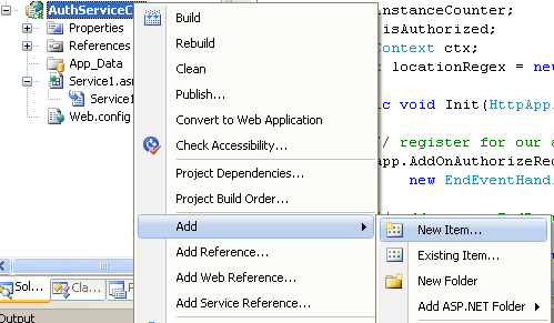 The C# Asynchronous Web Service Access with ASP .NET WEB Service application development Program Example: invoking the adding new item menu for C# project in Visual Studio IDE