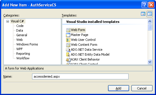 The C# Asynchronous Web Service Access with ASP .NET WEB Service application development Program Example: adding an aspx web form into existing C# project