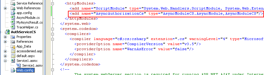 The C# Asynchronous Web Service Access with ASP .NET WEB Service application development Program Example: adding the httpModules in the web.config file