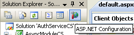 The C# Asynchronous Web Service Access with ASP .NET WEB Service application development Program Example: the ASP .NET Configuration short cut icon in Visual Studio IDE