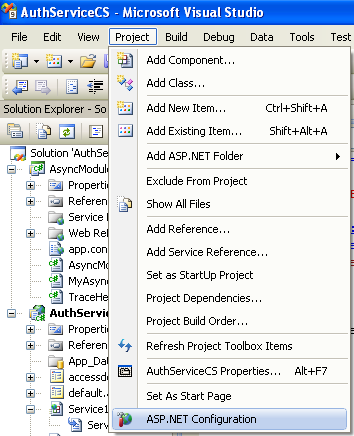 The C# Asynchronous Web Service Access with ASP .NET WEB Service application development Program Example: the ASP .NET Configuration menu from the Project menu in the Visual Studio IDE
