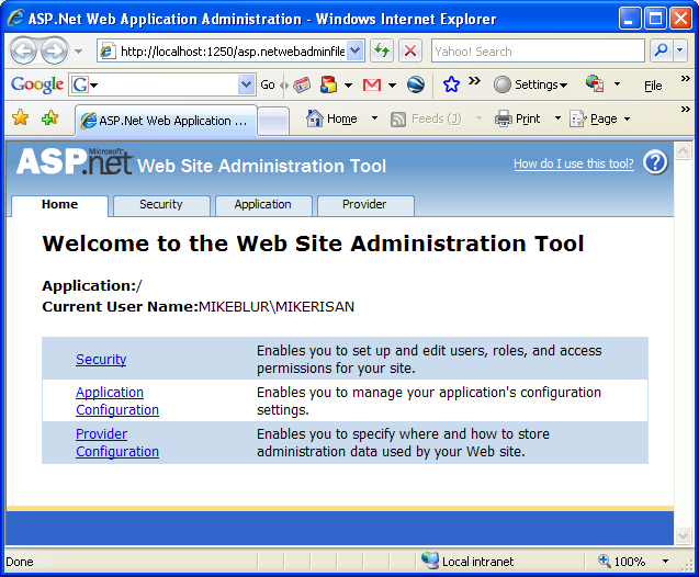 The C# Asynchronous Web Service Access with ASP .NET WEB Service application development Program Example: the ASP .NET Web Application Administration GUI opened in the Internet Browser