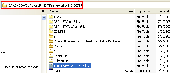 The C# Asynchronous Web Service Access with ASP .NET WEB Service application development Program Example: The ASP .NET temporary files folder for Windows XP Pro SP2