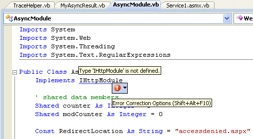 The VB .NET Asynchronous Web Service Program Example: the unresolved namespace