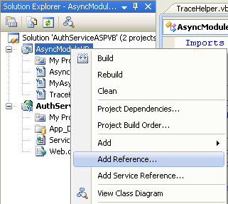 The VB .NET Asynchronous Web Service Program Example: adding a reference to the .net project to resolve the .NET reference