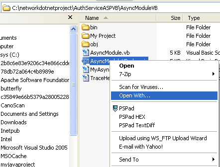The VB .NET Asynchronous Web Service Program Example: opening the .nET project file