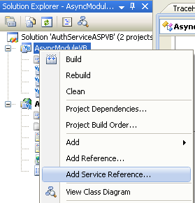 The VB .NET Asynchronous Web Service Program Example: adding the web service reference to the .NET project