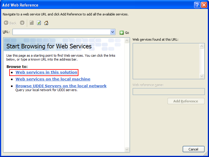 The VB .NET Asynchronous Web Service Program Example: the Add Reference page with the web service browsing page