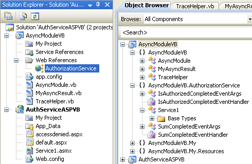 The VB .NET Asynchronous Web Service Program Example: the added web service visible in the Visual Studio Solution Explorer