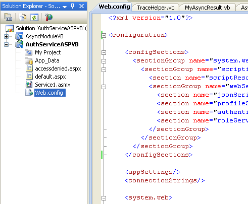 The VB .NET Asynchronous Web Service Program Example: the web.config file content