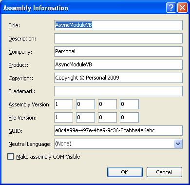 The VB .NET Asynchronous Web Service Program Example: the VB .NET project assembly information page