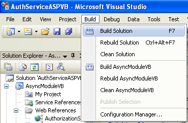 The VB .NET Asynchronous Web Service Program Example: building the VB .NET solution