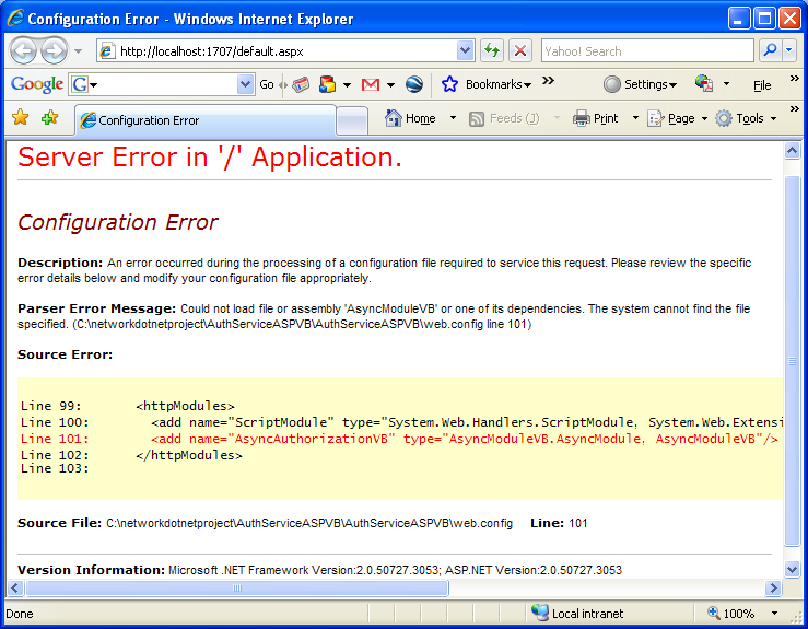 The VB .NET Asynchronous Web Service Program Example: error information dissipated by the asp .NET in the browser