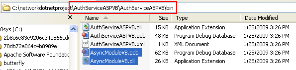 The VB .NET Asynchronous Web Service Program Example: pasting the DLL file into the web service /bin folder