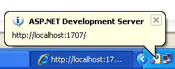 The VB .NET Asynchronous Web Service Program Example: the ASP .NET development server short cut from the icon tray