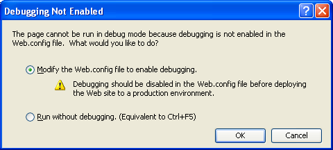 The VB .NET Asynchronous Web Service Program Example: enabling the debug by modifying the web.config file