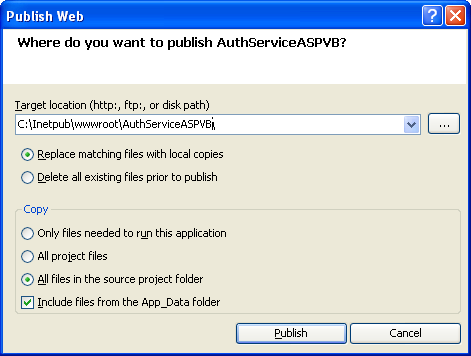 The VB .NET Asynchronous Web Service Program Example: the Publish Page settings