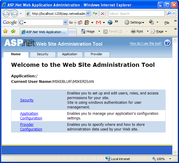 The VB .NET Asynchronous Web Service Program Example: the ASP .NET Web Application Administration GUI accessed from the browser